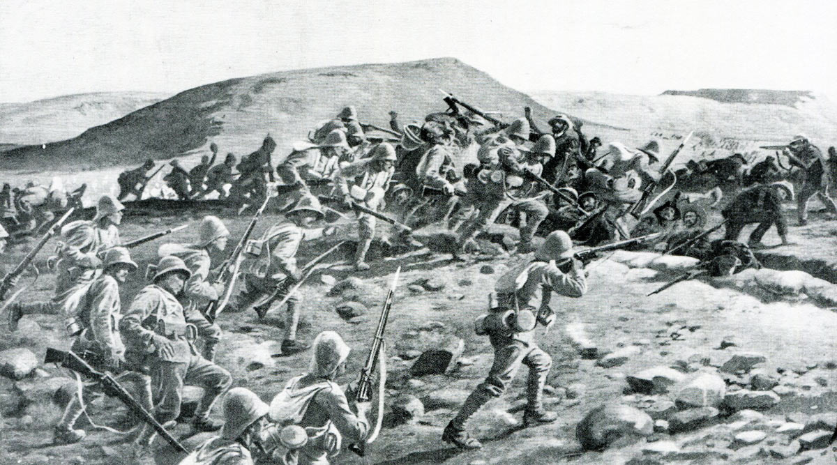 1st South Lancashires storming Pieters Hill: Battles of Val Krantz and Pieters 5th to 28th February 1900 in the Great Boer War: picture by William Barnes Wollen