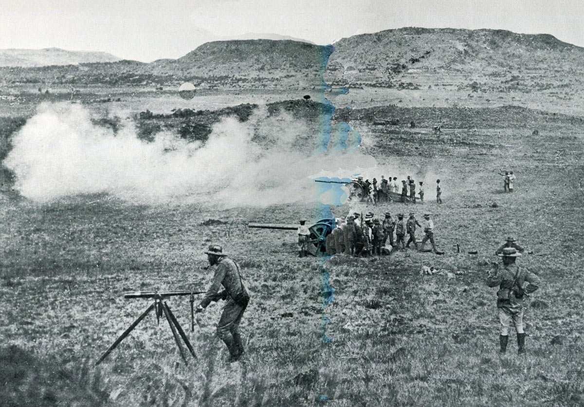 Royal Navy 4.7 inch guns firing at the Boer positions: Battles of Val Krantz and Pieters 5th to 28th February 1900 in the Great Boer War