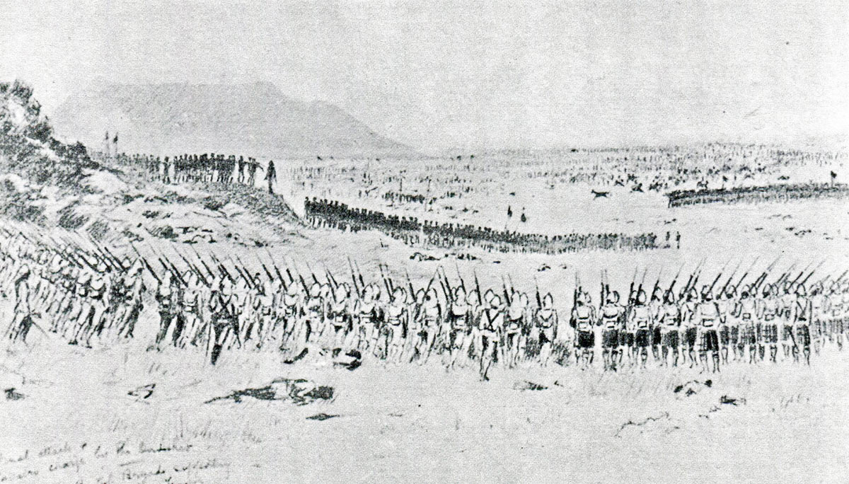 Wauchope's British brigade advancing to support Maconald's brigade at the Battle of Omdurman on 2nd September 1898 in the Sudanese War: drawing by Corporal Farquharson of 1st Seaforth Highlanders