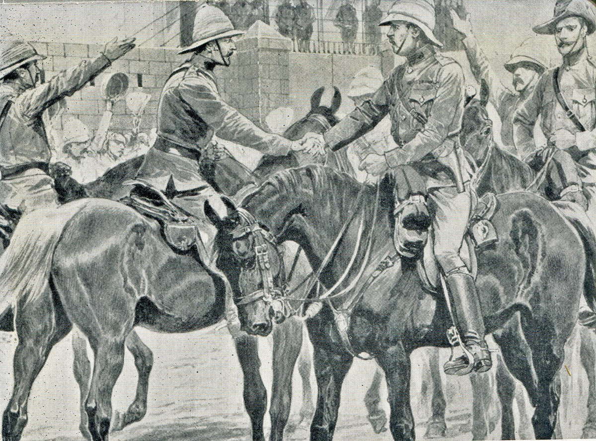 White and Buller meet after the Battles of Val Krantz and Pieters 5th to 28th February 1900 in the Great Boer War