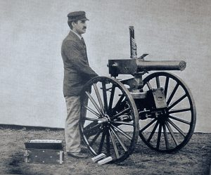 William Gardner with his Gardner machine gun: Battle of Abu Klea on 17th January 1885 in the Sudanese War