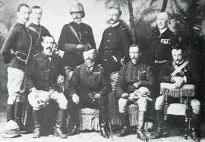 Lieutenant General Sir Garnet Wolseley (in hat) and his staff: Battle of Tel-el-Kebir on 13th September 1882 in the Egyptian War