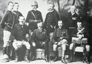 Lieutenant General Sir Garnet Wolseley (in hat) and his staff: Battle of Tel-el-Kebir on 13th September 1882 in the Egyptian War