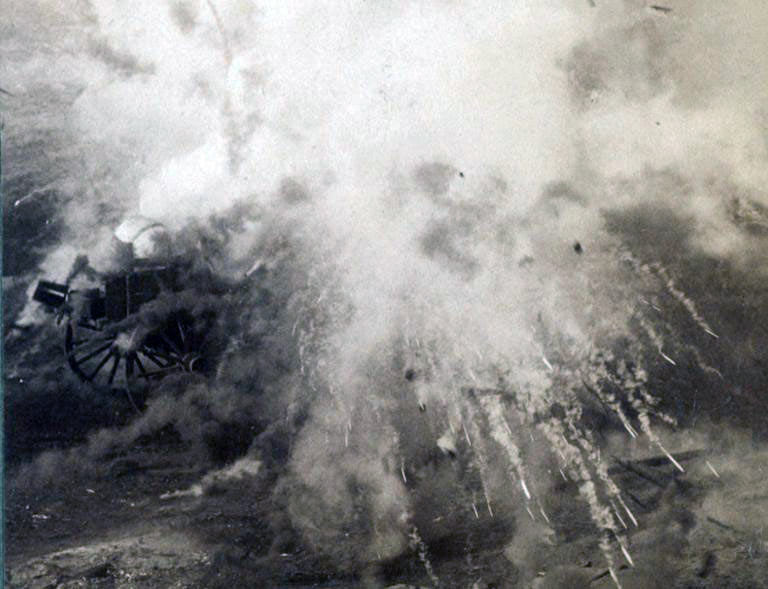 Photograph of a shell exploding in the Boer lines during the Battle of Paardeburg on 27th February 1900 in the Great Boer War