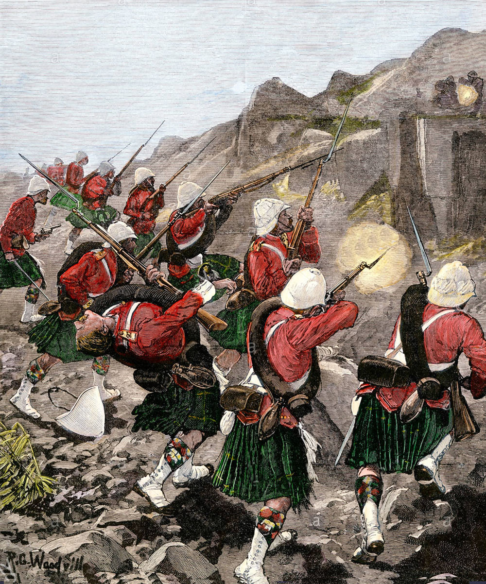 92nd Highlanders scale the hillside at the Battle of Majuba Hill on 27th February 1881 in the First Boer War: picture by Richard Caton Woodville
