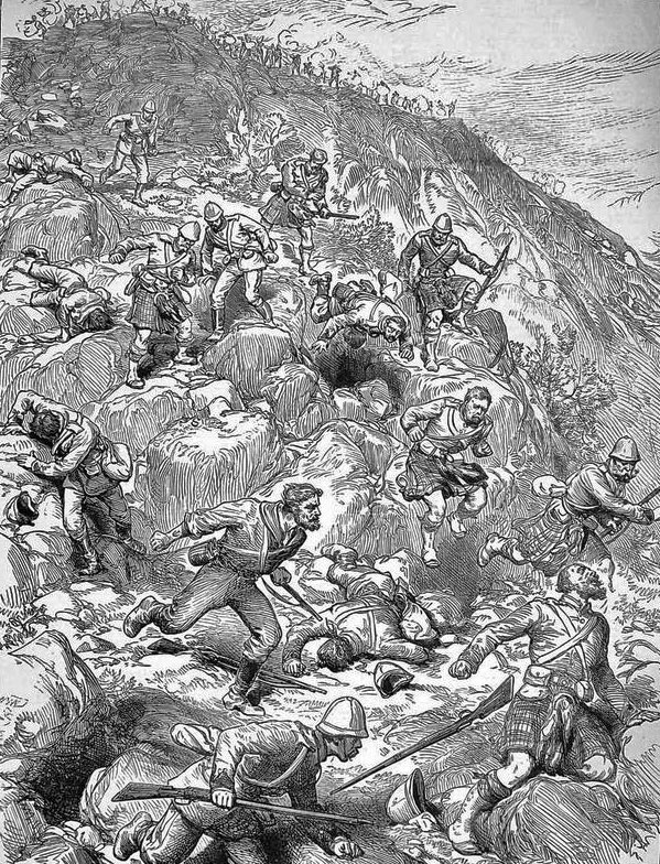 British troops fleeing down the hillside at the Battle of Majuba Hill on 27th February 1881 in the First Boer War