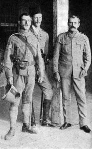 Colonel Macdonald (on right) with two staff officers: Battle of Omdurman on 2nd September 1898 in the Sudanese War