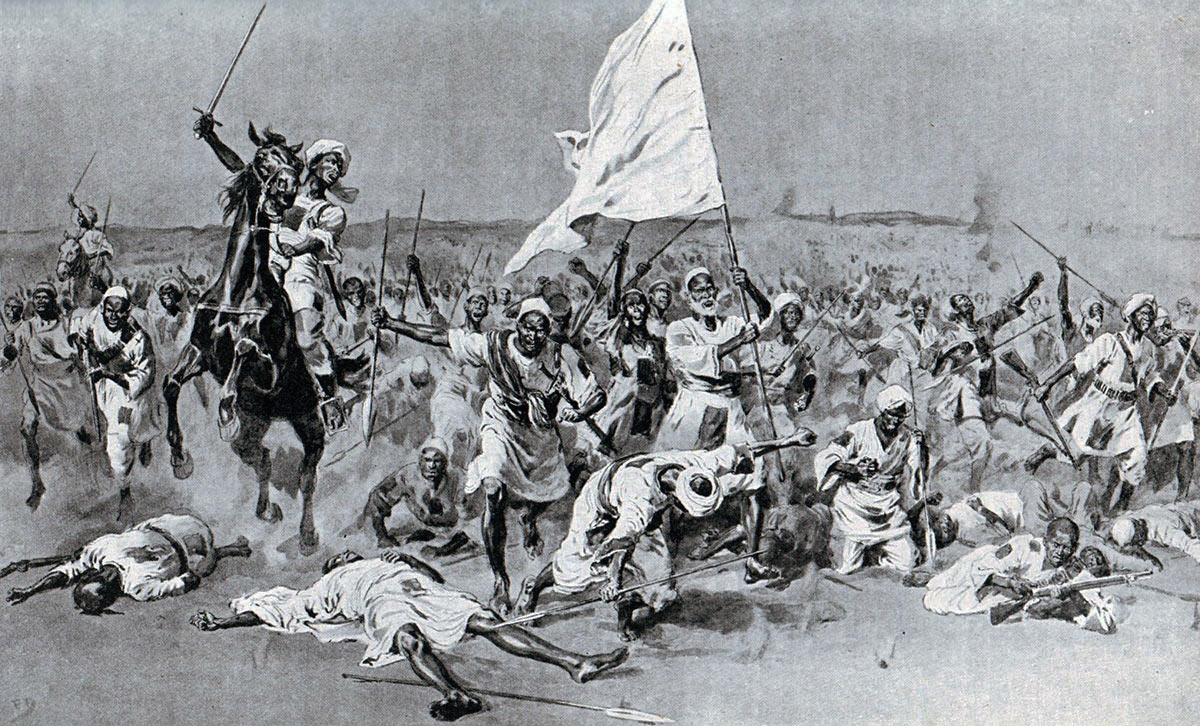 The first Dervish attack at the Battle of Omdurman on 2nd September 1898 in the Sudanese War