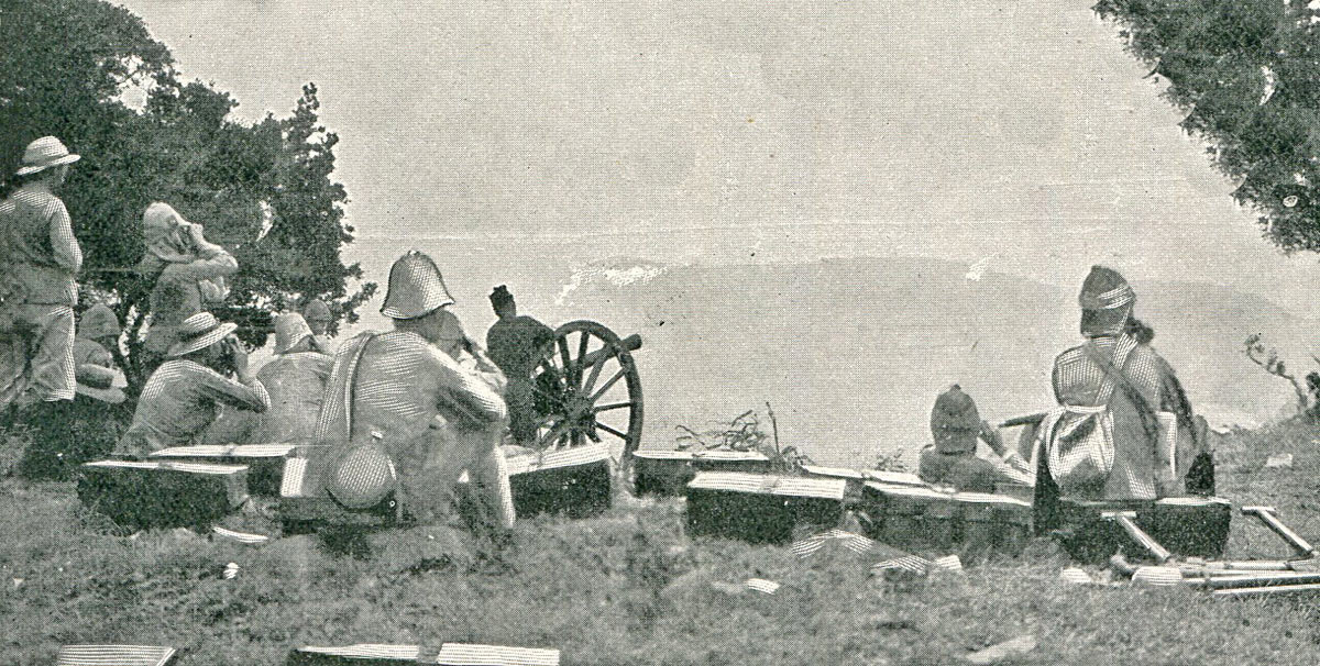 British guns firing on Val Krantz: Battles of Val Krantz and Pieters 5th to 28th February 1900 in the Great Boer War