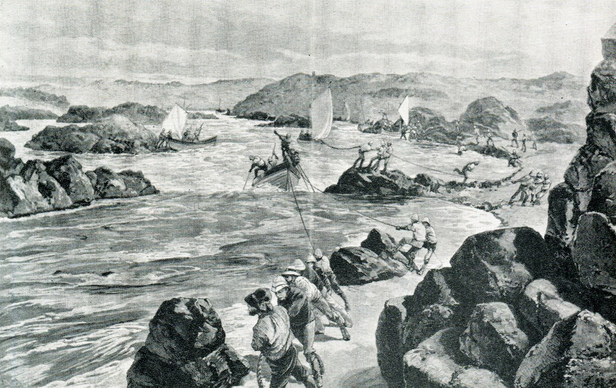 Hauling a whaler up the Second Cataract on the River Nile: Battle of Abu Klea on 17th January 1885 in the Sudanese War