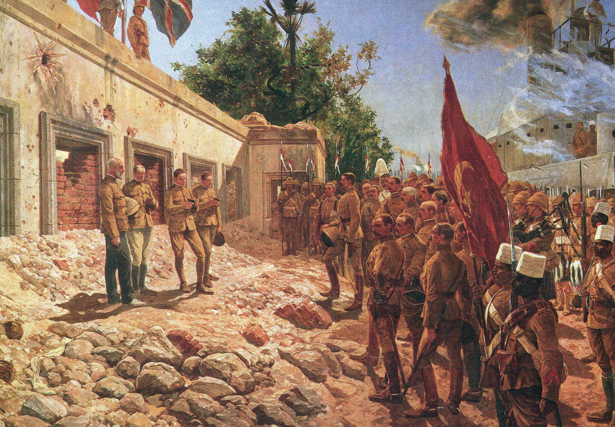 Memorial service for General Charles Gordon conducted at his palace in Khartoum after the Battle of Omdurman on 2nd September 1898 in the Sudanese War: picture by Richard Caton Woodville