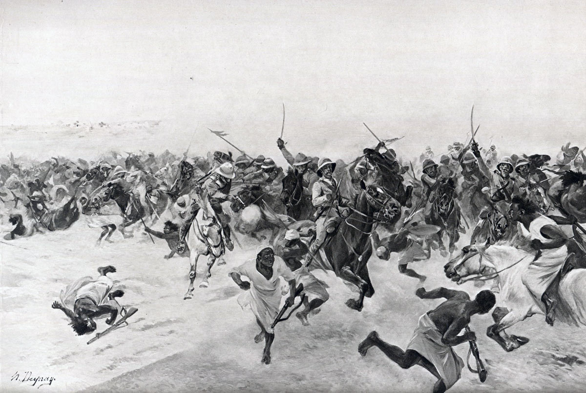 Charge of the 21st Lancers at the Battle of Omdurman on 2nd September 1898 in the Sudanese War: picture by Henri Dupray