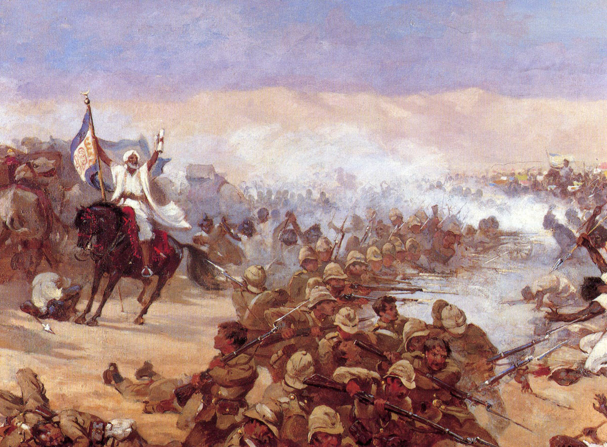The Dervishes break into the British square at the Battle of Abu Klea on 17th January 1885 in the Sudanese War: picture by Stanley Berkeley