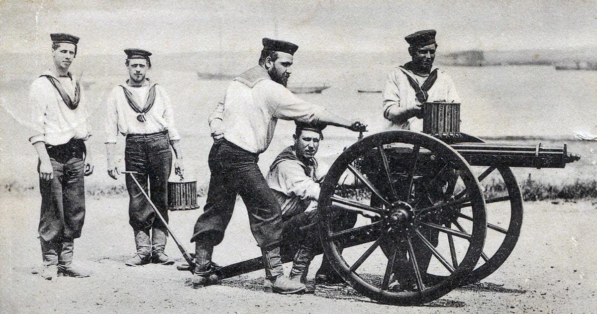 Royal Navy Gatling Gun team: Battle of Abu Klea fought on 17th January 1885 in the Sudanese War
