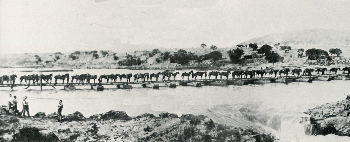 British cavalry crossing the Tugela River on 27th February 1900: Battles of Val Krantz and Pieters 5th to 28th February 1900 in the Great Boer War