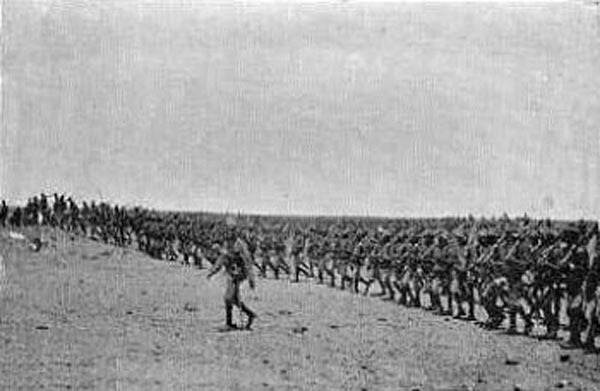 Colonel Macdonald's Sudanese brigade advancing during the Battle of Omdurman on 2nd September 1898 in the Sudanese War