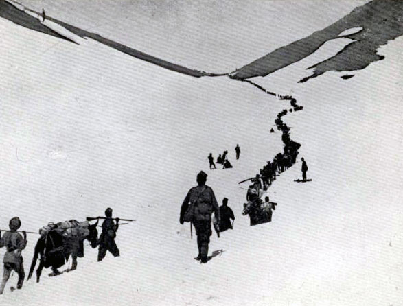 Gurkhas crossing the Lowari Pass: Siege and Relief oaf Chitral, 3rd March to 20th April 1895 on the North-West Frontier of India