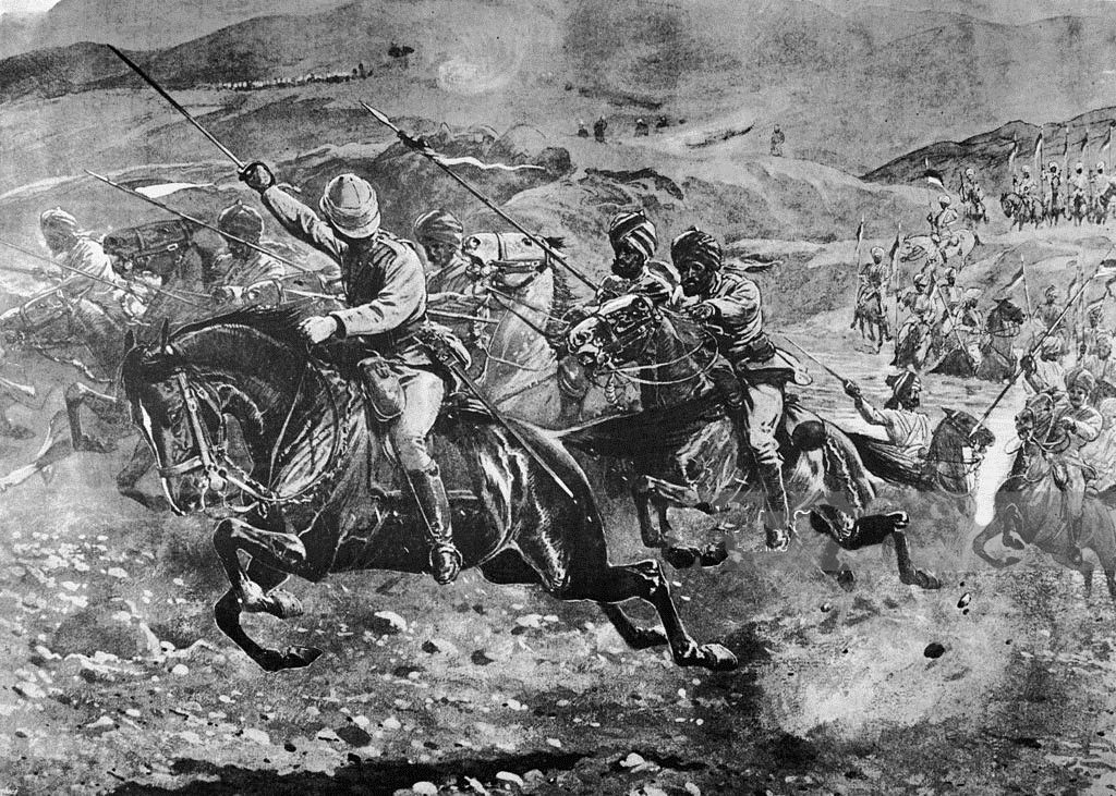 11th Bengal Lancers attacking across the Swat River: Siege and Relief oaf Chitral, 3rd March to 20th April 1895 on the North-West Frontier of India