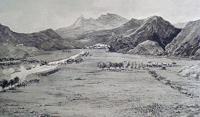 11th Bengal Lancers crossing the Swat River: Siege and Relief of Chitral, 3rd March to 20th April 1895 on the North-West Frontier of India