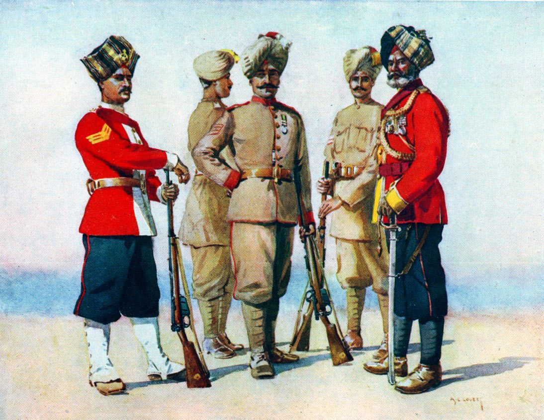 Punjabi and Dogra Regiments (38th Dogras on the right): Waziristan campaign, 3rd November 1894 to March 1895, on the North-West Frontier of India: picture by AC Lovett