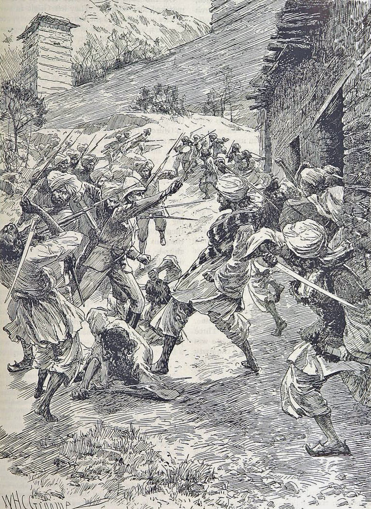 Attacking the mine: Siege and Relief oaf Chitral, 3rd March to 20th April 1895 on the North-West Frontier of India: picture by William Henry Groome