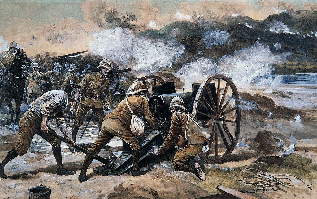 British Guns at Siege of Kimberley, 14th October 1899 to 15th February 1900 during the Great Boer War