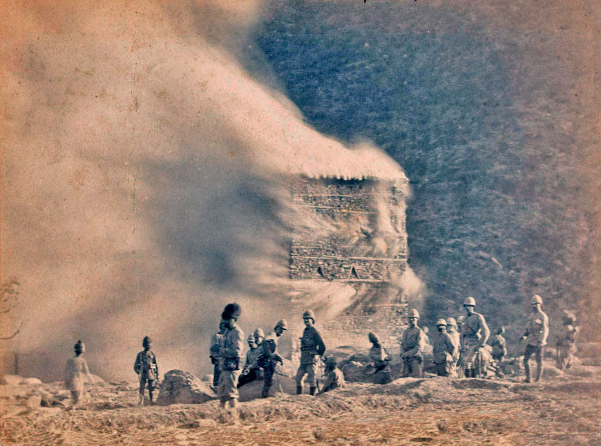 Burning a village: Black Mountain Expedition from 1st October 1888 to 13th November 1888 on the North-West Frontier of India