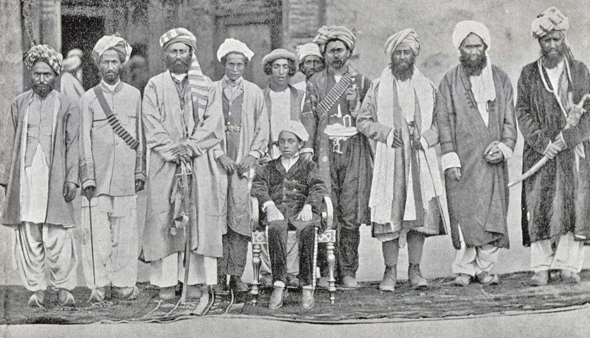 Chitralis held in Chitral Fort during the siege; Shuja-ul-Mulk, Mehtar of Chitral sits in front: Siege and Relief of Chitral, 3rd March to 20th April 1895 on the North-West Frontier of India