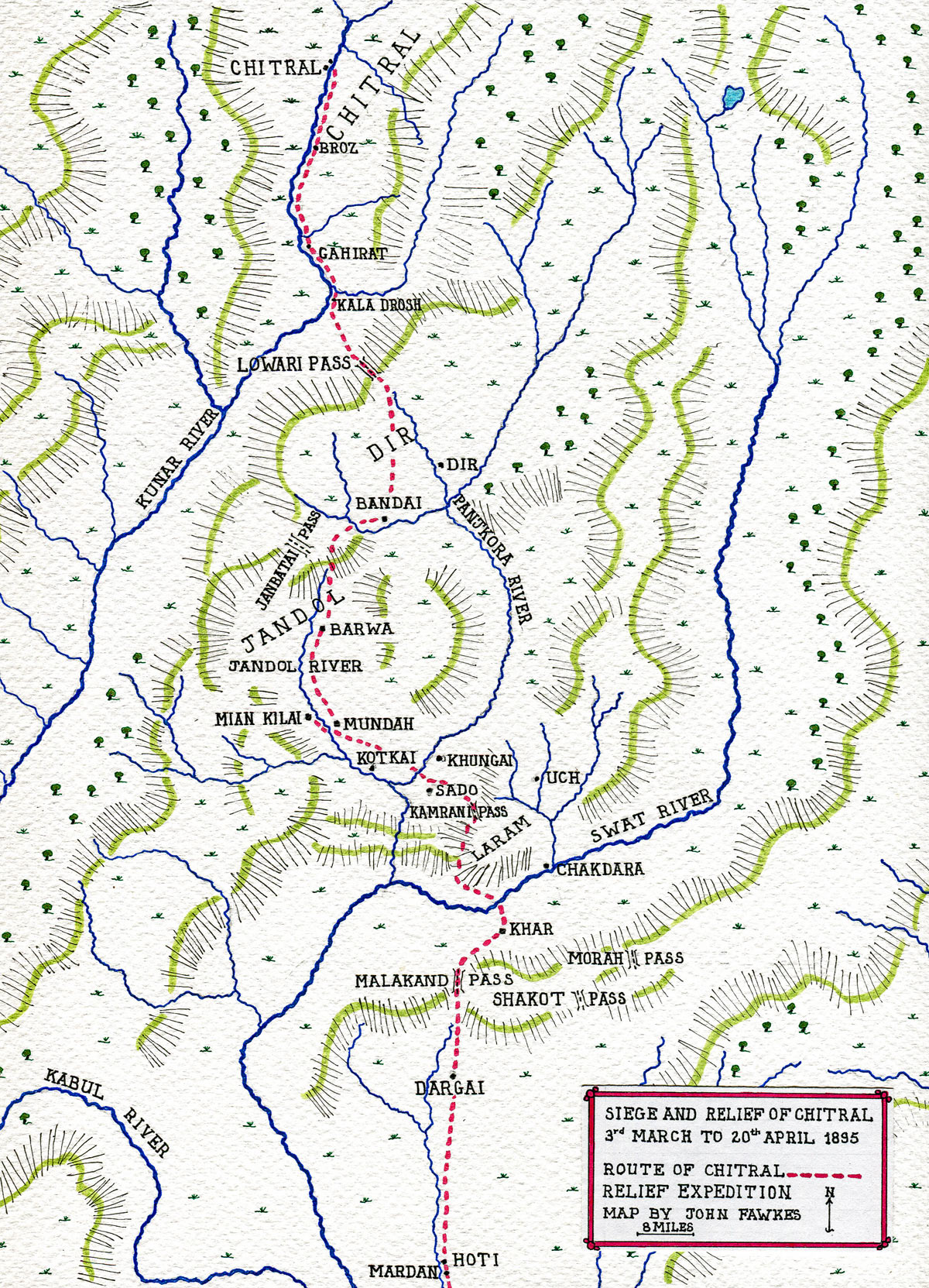 Map of the route taken by the Chitral Relief Expedition: Siege and Relief of Chitral, 3rd March to 20th April 1895 on the North-West Frontier of India: map by John Fawkes