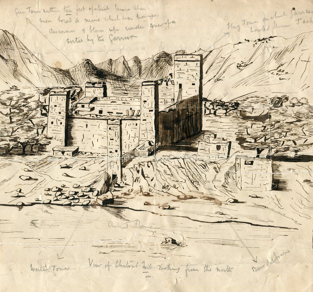 Sketch of Chitral Fort from the far side of Kunar River looking south to the fort, drawn within days of the end of the siege by an officer of the Chitral Relief Force: Siege and Relief of Chitral, 3rd March to 20th April 1895 on the North-West Frontier of India: Pencil Notes: a. Gun Tower within ten feet of which Umar Khan's men bored a mine which was however discovered and blown up under cover of a Sortie by the Garrison. b. Flag Tower on which garrison hoisted Union Jack c. Water Tower; d. Baird's grave e. View of Chitral Fort looking from the north