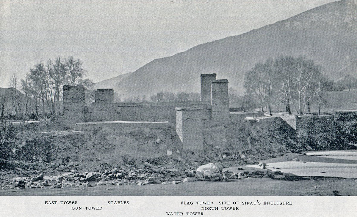 Chitral Fort from across the river: Siege and Relief oaf Chitral, 3rd March to 20th April 1895 on the North-West Frontier of India