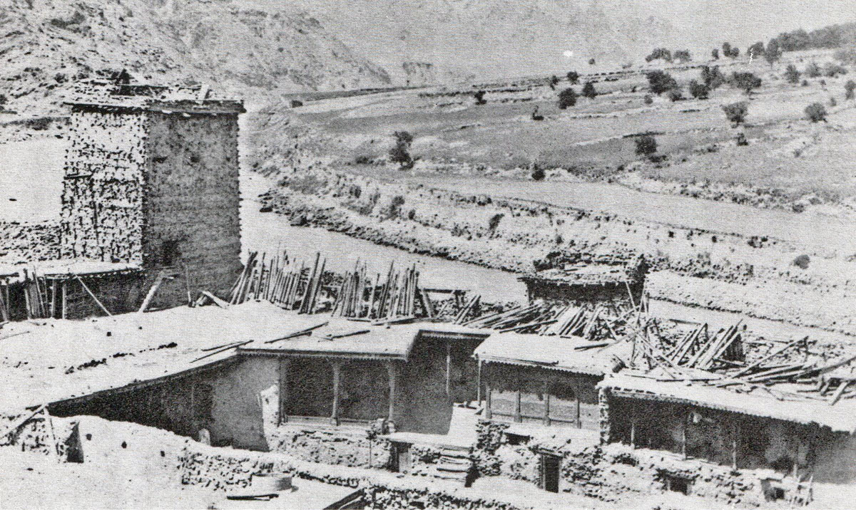 Chitral Fort; looking out over the river, North Tower on left: Siege and Relief oaf Chitral, 3rd March to 20th April 1895 on the North-West Frontier of India