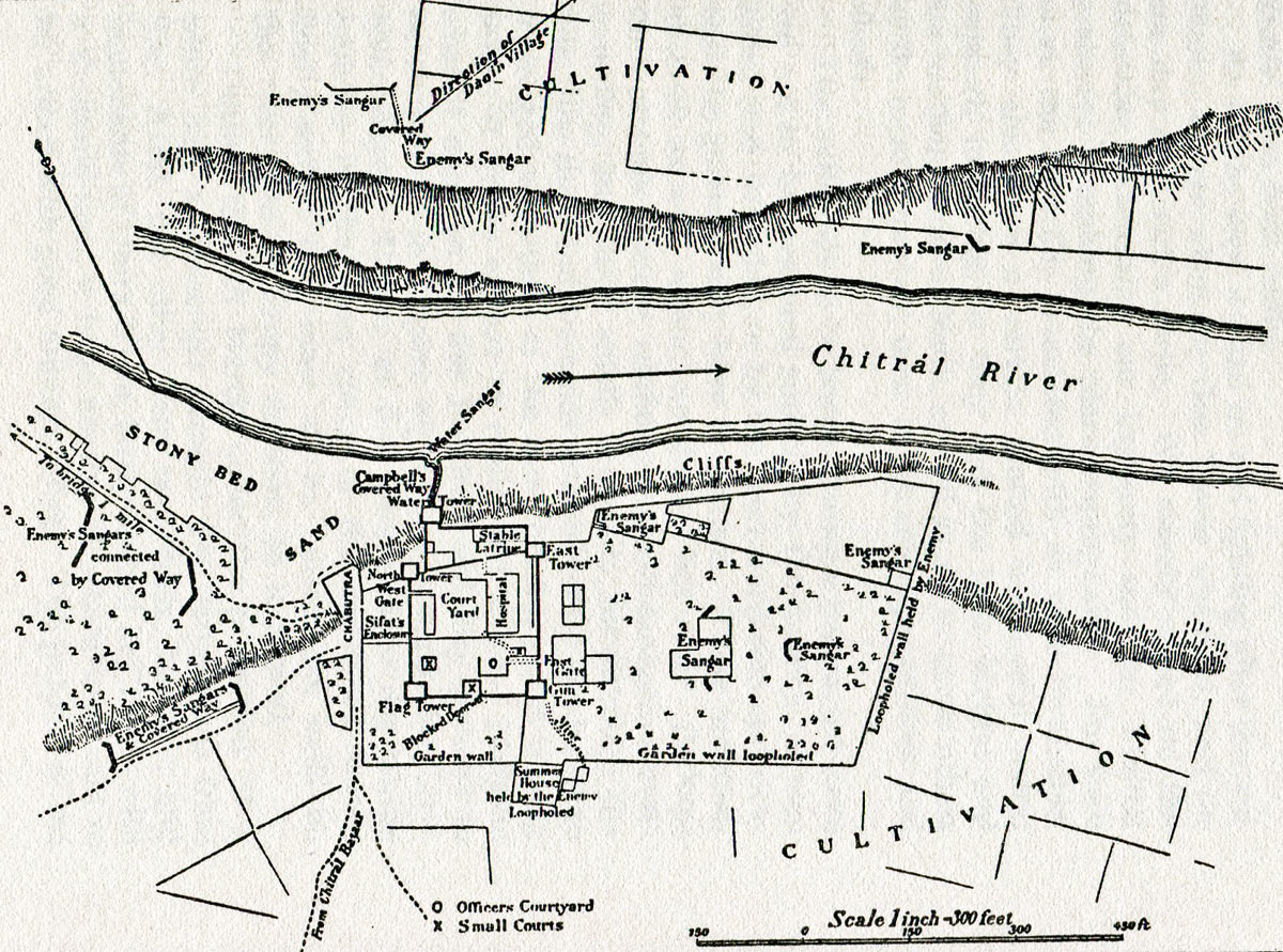 Chitral Fort plan: Siege and Relief oaf Chitral, 3rd March to 20th April 1895 on the North-West Frontier of India