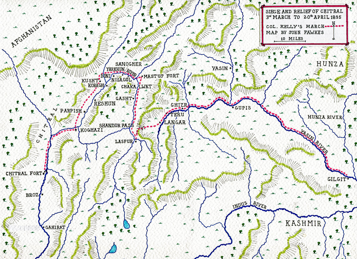 Map of Colonel Kelly's march from Gilgit to Chitral: Siege and Relief of Chitral, 3rd March to 20th April 1895 on the North-West Frontier of India: map by John Fawkes