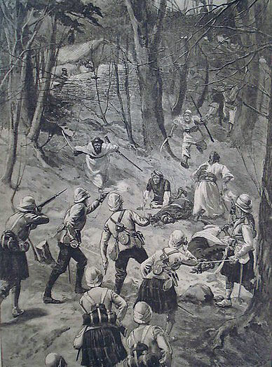Highlanders attackingl: Siege and Relief of Chitral, 3rd March to 20th April 1895 on the North-West Frontier of India