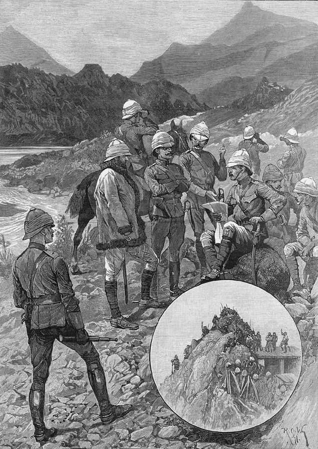General Elles sights the tribesmen at Shingri: Black Mountain Expedition, 1st March 1891 to 29th May 1891 on the North-West Frontier in India: picture by Richard Caton Woodville: buy this picture