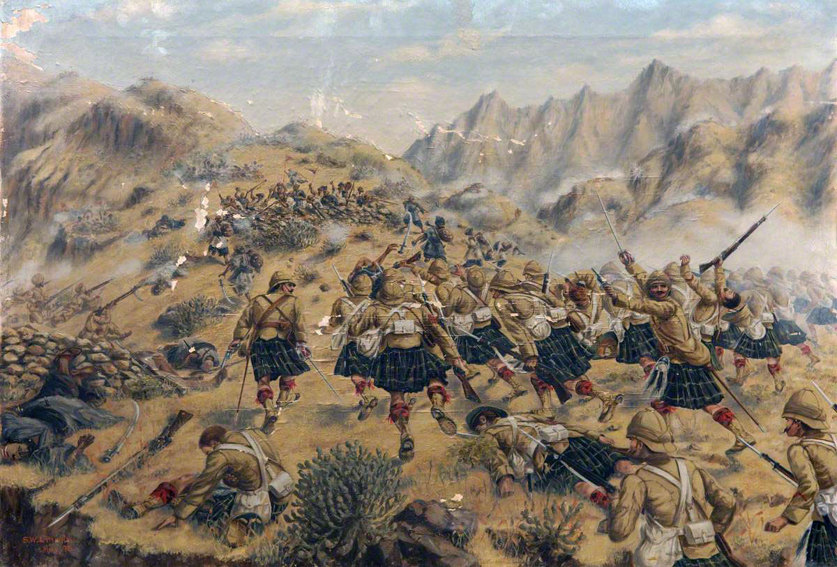 1st Gordon Highlanders storming the Malakand Pass: Siege and Relief of Chitral, 3rd March to 20th April 1895 on the North-West Frontier of India: picture by SW Lincoln