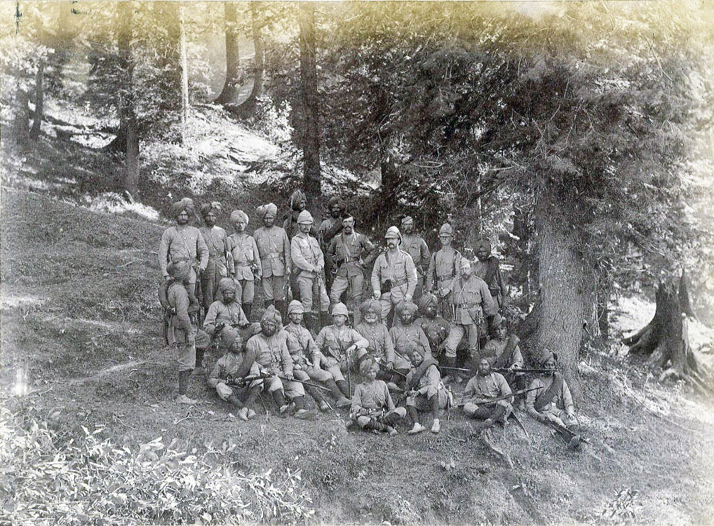 Group of 3rd Sikhs at Chittabat: Black Mountain Expedition, 1st March 1891 to 29th May 1891 on the North-West Frontier in India