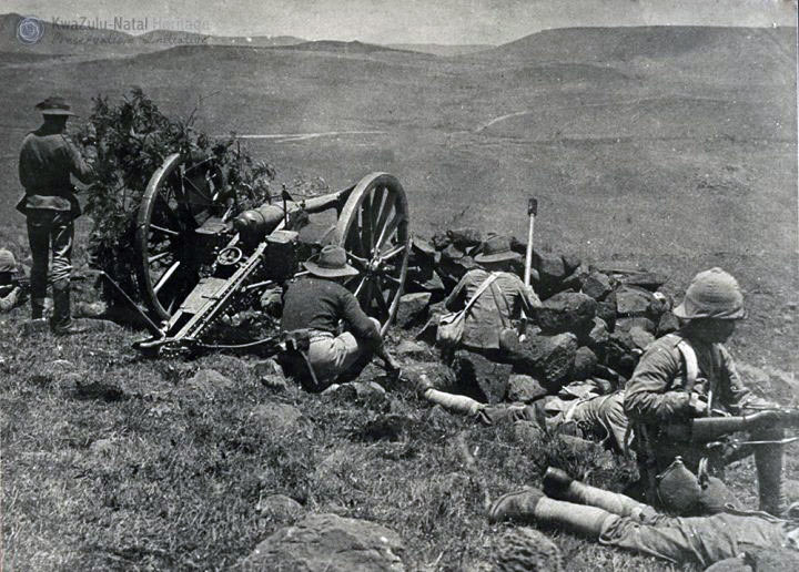 British gun and infantry picket at the Siege of Ladysmith, 2nd November 1899 to 27th February 1900 in the Great Boer War