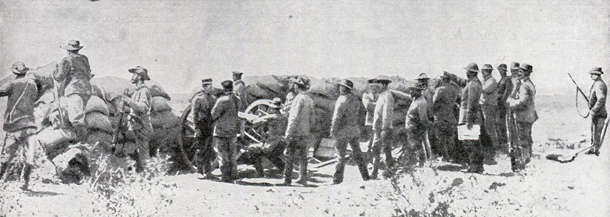 Boer gunners firing into Kimberley: Siege of Kimberley, 14th October 1899 to 15th February 1900 during the Great Boer War