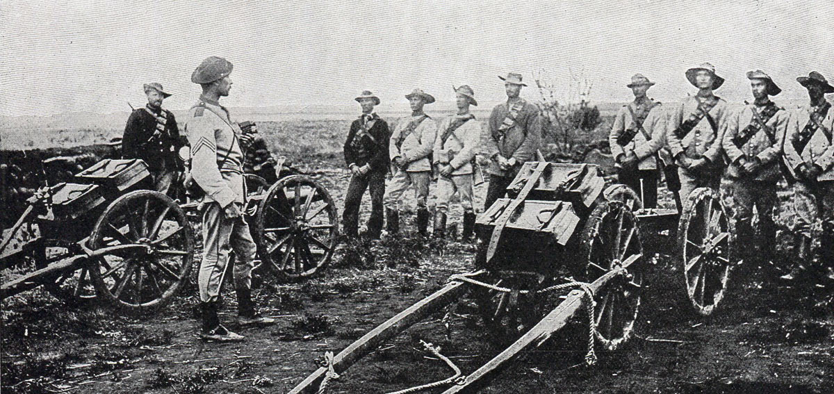 Boers with captured British guns: Siege of Kimberley, 14th October 1899 to 15th February 1900 during the Great Boer War