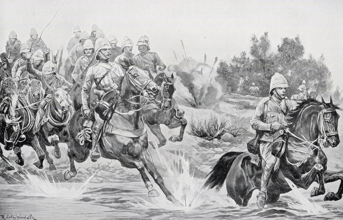 Royal Horse Artillery of French's Cavalry Division: Siege of Kimberley, 14th October 1899 to 15th February 1900 during the Great Boer War: picture by Richard Caton Woodville