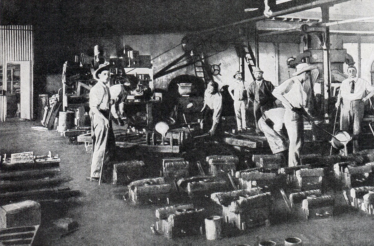 Casting shells in the De Beers Workshop: Siege of Kimberley, 14th October 1899 to 15th February 1900 during the Great Boer War
