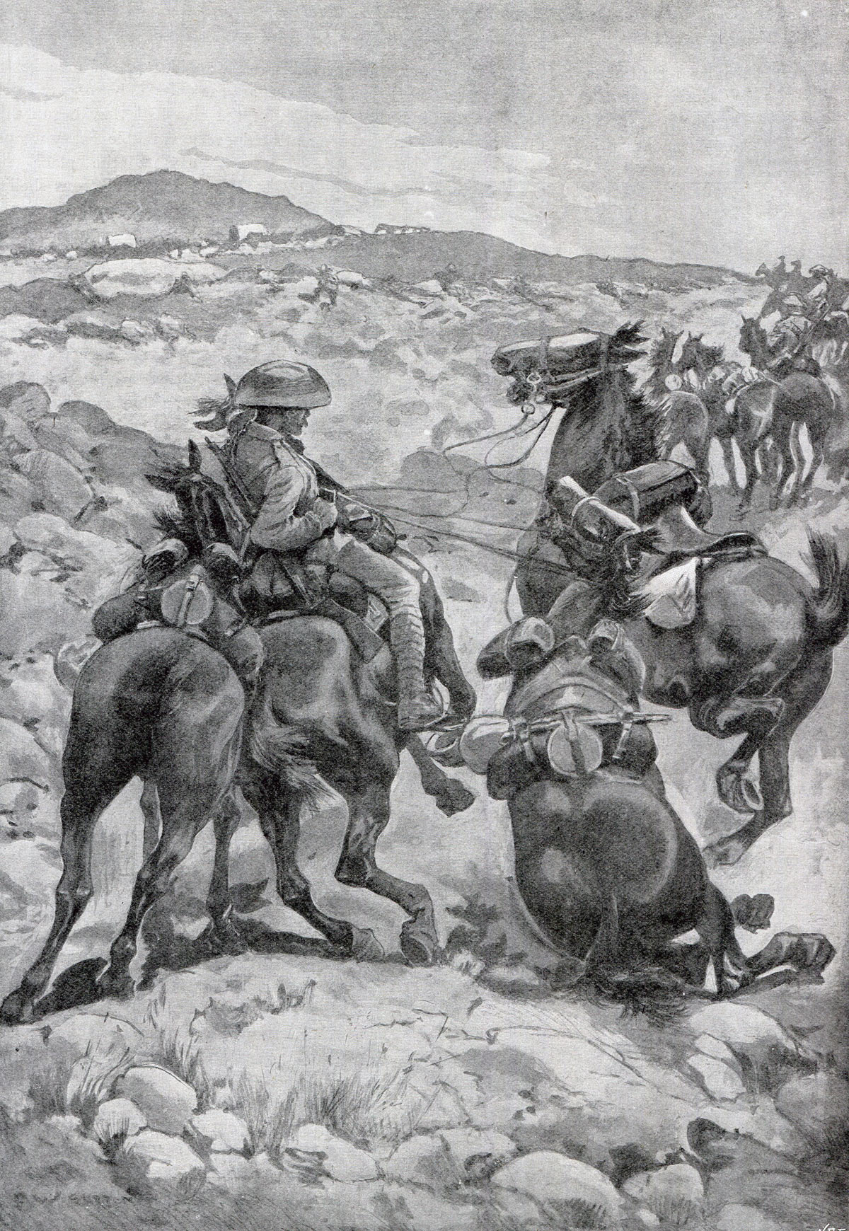 British Mounted Infantry in action: Siege of Kimberley, 14th October 1899 to 15th February 1900 during the Great Boer War: picture by F.W. Burton