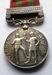 Indian General Service Medal (reverse) with clasp for 'Relief of Chitral' awarded to Captain Arthur Lynden-Bell, adjutant of 1st Buffs: Siege and Relief oaf Chitral, 3rd March to 20th April 1895 on the North-West Frontier of India