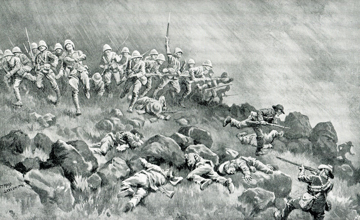 The Devons clearing the top of Wagon Hill: Siege of Ladysmith, 2nd November 1899 to 27th February 1900 in the Great Boer War: picture by W.T. Maud