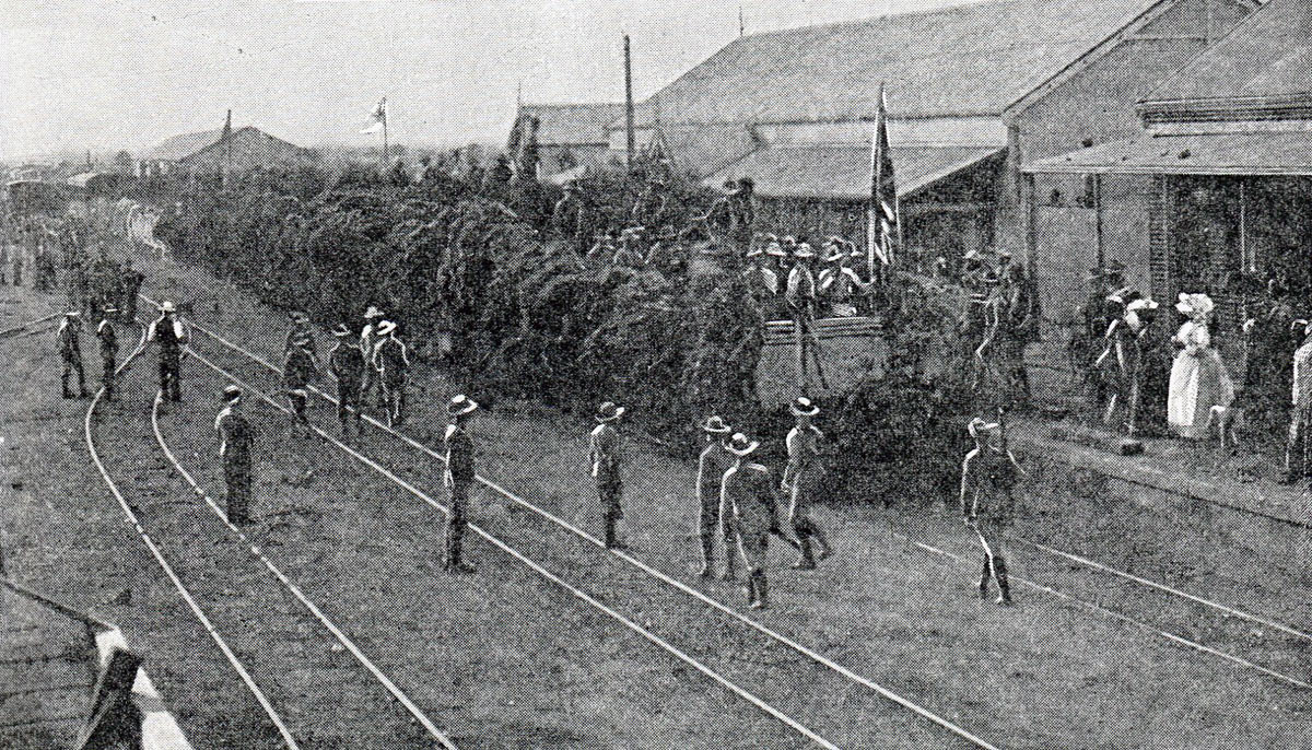 The First Train into Mafeking after the Siege of Mafeking 14th October 1899 to 16th May 1900 in the Great Boer War