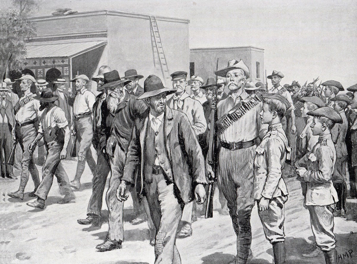 Boer prisoners after Eloff's attack: Siege of Mafeking 14th October 1899 to 16th May 1900 in the Great Boer War: picture by H.M. Paget