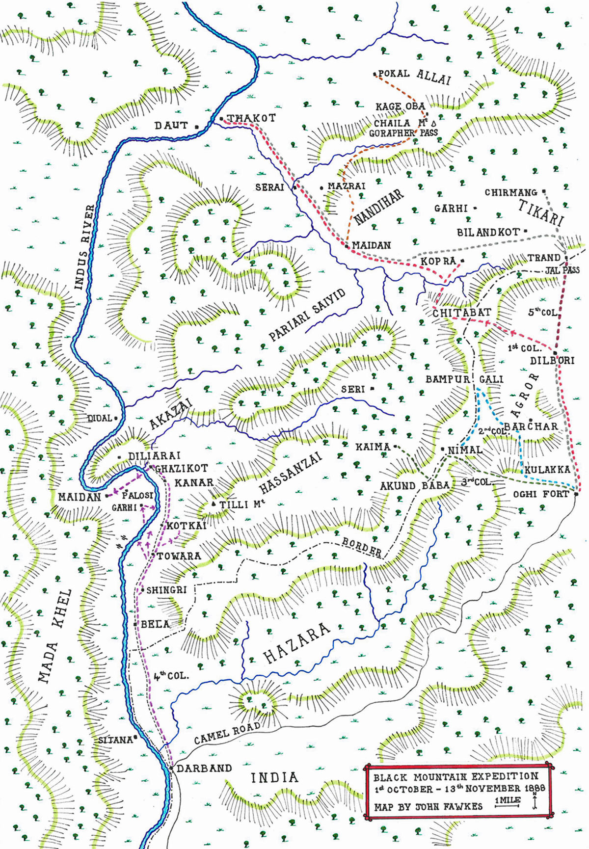 Map of the Black Mountain Expedition from 1st October 1888 to 13th November 1888 on the North-West Frontier of India: map by John Fawkes