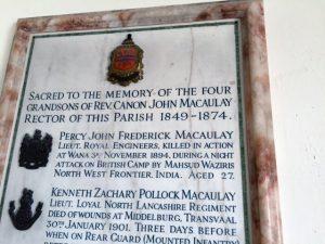 Memorial in St. Cuthbert's Church, Aldingham, Cumbria, to Lieutenant Percy Macaulay, Royal Engineers, killed at Wana Camp, 3rd November 1894, Waziristan, on the North-West Frontier of India